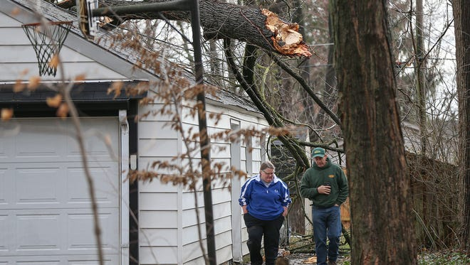 Storm winds caused a tree to split and fall onto two homes on Oswego Road in Carmel, Ind., Wednesday, March 1, 2017. Overnight storms caused downed limbs and trees, as well as power outages in some Indianapolis neighborhoods. There was no known severe weather damage in Indianapolis as of 10 a.m.