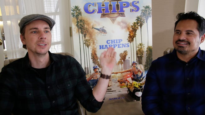 "Actors Dax Shepard and Michael Pena, who are in town for a screening of their new movie comedy  ""CHiPs,"" speak to the Detroit Free Press about their new film in Birmingham, MI, Tuesday, Mar. 7, 2017."