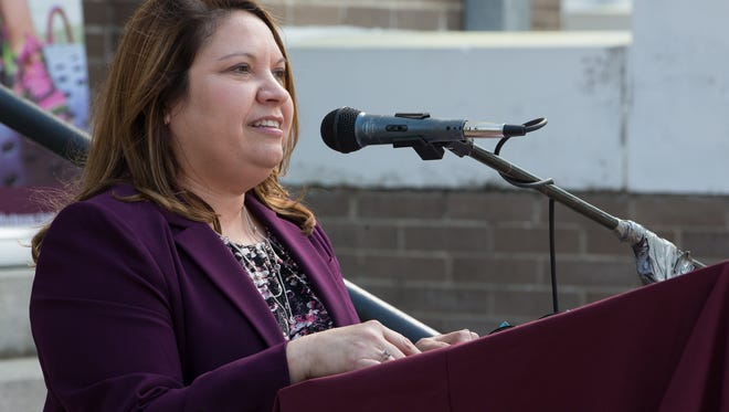 Starr Flores speaks during the opening of the newest Healthy South Texas office in the Kleberg County Courthouse on Monday, March 20, 2017.