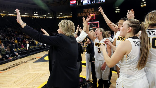 Iowa head coach Lisa Bluder waves to fans following the Hawkeyes' WNIT third round game against Colorado at Carver-Hawkeyes Arena on Thursday, March 23, 2017.