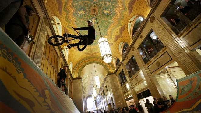 Dillion Jaye, of Westland, rides the 26-foot-long, 8 1/2-foot-high Fisher Halfpipe on Monday inside the Fisher Building in Detroit.