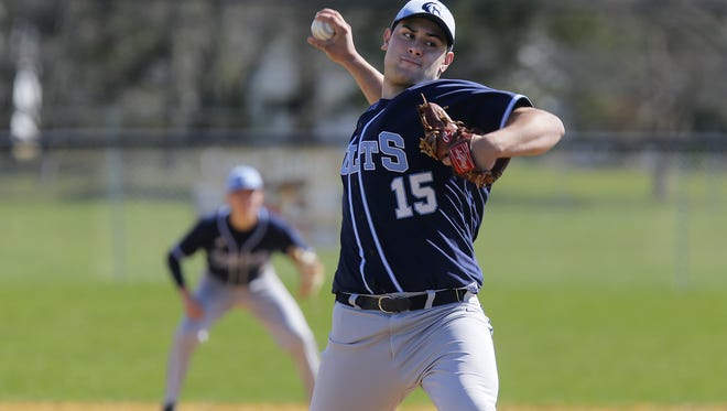Christian Brothers Academy's Nick Hohenstein is shown pitching Monday at Freehold