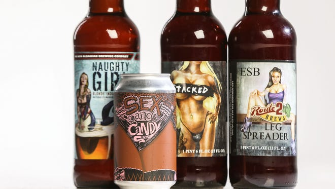 From left, Naughty Girl from New Albanian Brewing Company in New Albany, Ind., Sex and Candy from 18th Street Brewery in Gary, Ind., Stacked and Leg Spreader from Route 2 Brews in Lowell, Ind..