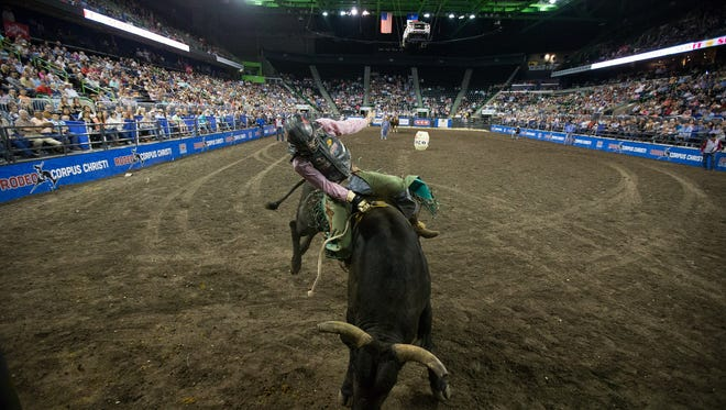 Bull rider Roscoe Jarboe competes during the 2016 Rodeo Corpus Christi at the American Bank Center.