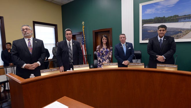 The majority of the council voted down raises for employees after an employee was left off the list on Dec. 12.  (L-R) Councilman Louis Aloia, Councilman Frank Calandriello, Councilwoman Erin Delaney, Deputy Mayor Joseph Delaney, and Mayor Richard Rigoglioso.