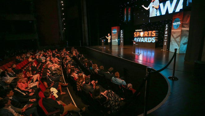 Pat McAfee speaks at the Indiana High School Sports Awards at Clowes Memorial Hall, Indianapolis. , Thursday, April 27, 2017.