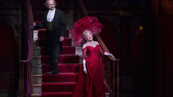 "David Hyde Pierce, left, and Bette Midler during a performance of ""Hello, Dolly!"" on Broadway."