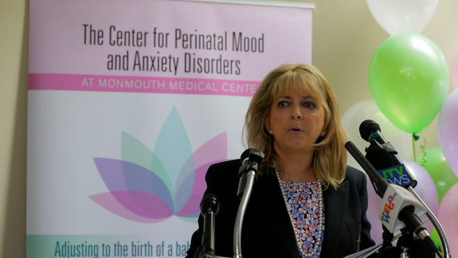 Mary Jo Codey, the former New Jersey First Lady, speaks about her personal experience with postpartum depression during the ribbon cutting ceremony for Monmouth Medical Center's Center for Perinatal Mood and Anxiety Disorder -- the state's first intensive outpatient program for new moms suffering from postpardum depression and anxiety, at Maysie Stroock Pavilion in Long Branch, NJ Thursday, May 4, 2017.