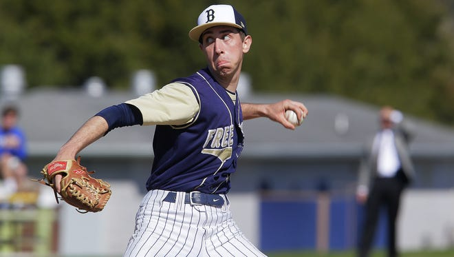 Freehold's Tom Holdorf, shown in a game earlier this season, pitched a complete-game four-hitter and threw 102 pitches Thursday in the Colonials';  9-2 win over Manalapan.