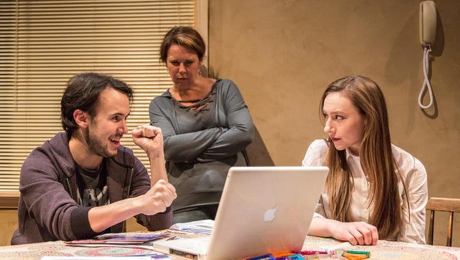 """Ned Baker (formerly of Birmingham), Detroit Public Theatre Producing Artistic Director Sarah Winkler (Birmingham) and Alysia Kolascz (Ann Arbor) star in the rolling world premiere of """"The Harassment of Iris Malloy"""" running through May 28 at Detroit Public Theatre."""