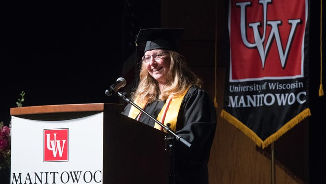 Catherine Hinkle, pictured, a returning adult student from Reedsville, was selected to be the student speaker at UW-Manitowoc's recent commencement ceremony.