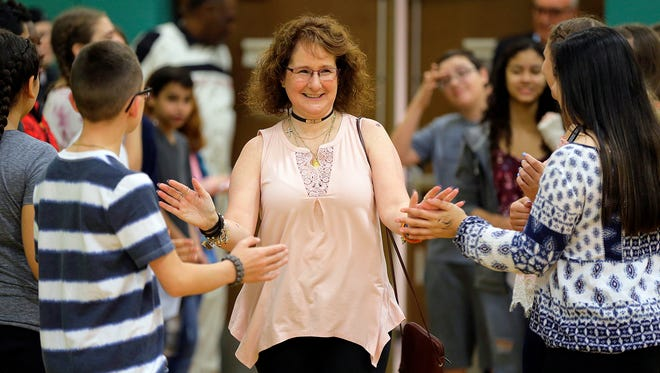 """Shelley Bruce, Broadway star who had the leading role in """"Annie,"""" is introduced during Rockaway Township Substance Abuse Alliance's annual Celebrity Day at Copeland Middle School in Rockaway Twp., NJ Thursday, June 1, 2017."""