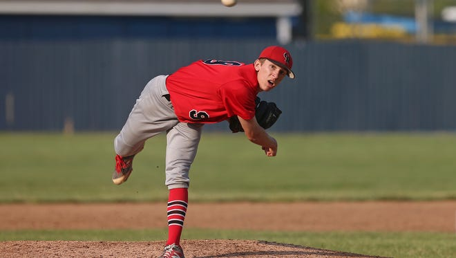 Cardinal Ritter's Blake Malatestinic, pictured during a 2016 game, on Saturday scattered five hits and struck out six in a complete game gem.