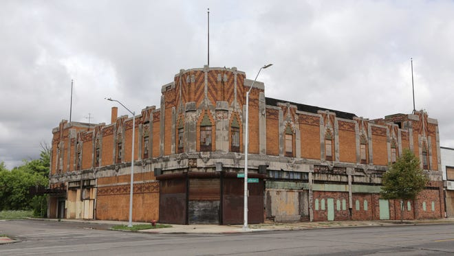 The exterior of the vacant and deteriorating Vanity Ballroom in Detroit, which once featured performances by jazz greats like Duke Ellington, is seen in August 2016 on the east side of Detroit.