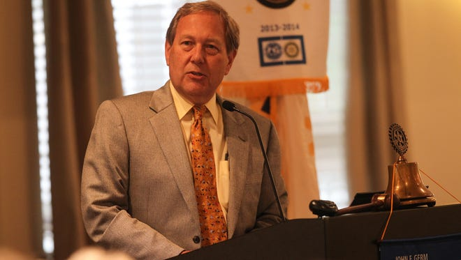 In this 2016 file photo, University of Iowa President Bruce Harreld speaks at an annual Joint Service Club luncheon at the University Club in University Heights.