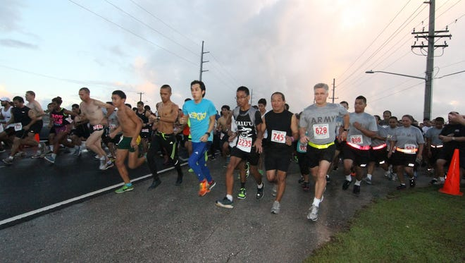 In this file photo, runners  start the Guam National Guard Taotaomona 5K Run/Walk in Barrigada.