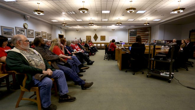 Lawmakers hear testimony for and against gun-control bills in the Oregon State Capitol in Salem on Monday, April 17, 2017.