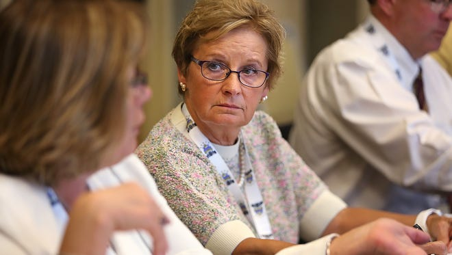 Connie Lawson listens during a meeting of the National Association of Secretaries of State Executive Board meeting at the Westin Indianapolis, Friday, June 7, 2017.  She will become the new president of the NASS later at the conference.