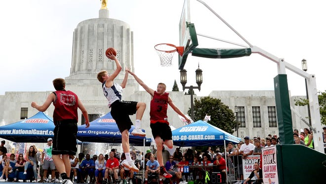 Hoopla, Salem's annual 3-on-3 street basketball tournament, attracts players of all ages and skill levels.