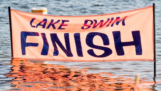 Finish area at Willard Beach before the start of the 90th Annual Goguac Lake Swim on Saturday.