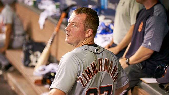 Tigers pitcher Jordan Zimmermann (27) give up only one run in 6 2/3 innings during the Tigers' 10-2 win over the Royals on Monday, July 17, 2017, in Kansas City, Mo.