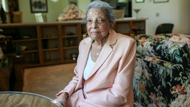 Judge Lucile A. Watts was the first black woman elected to a Michigan circuit court and gave her time to numerous causes advocating for crippled adults and children, women's rights and people of color. Watts is photographed in her home in Detroit as she talks about the time she helped black men get released from jail during the 1967 riots on Monday, July 17, 2017. Watts was chairwoman of the Focus:HOPE board of directors, president of the Association of Black Judges of Michigan and the Women's Division of the National Bar Association and chairwoman of the Mary McLeod Bethune Association of Michigan and president of the Metropolitan Society of Crippled Children and Adults.