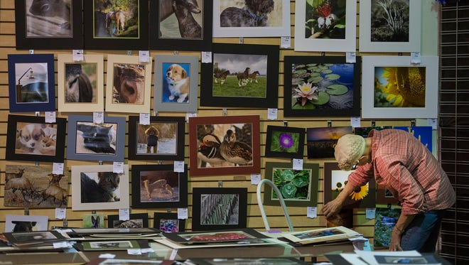 Open-class photography assistant superintendent Cory McDowell helps hang up photos submitted for the photography competition during the 2017 Larimer County Fair & Rodeo at The Ranch in Loveland.