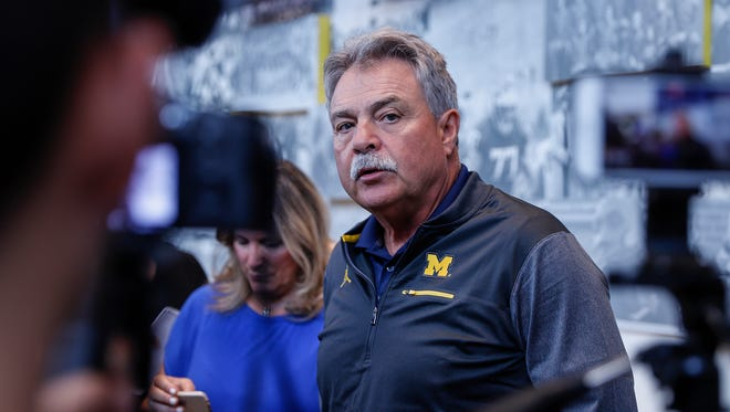 Michigan defensive coordinator Don Brown answers questions during a news conference at the Towsley Museum in Schembechler Hall, Thursday, August 3, 2017 in Ann Arbor.