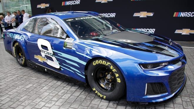 Chevrolet unveils 2018 NASCAR Cup Series car at Renaissance Center in Detroit Thursday Aug. 10, 2017. Detroit. Mandi Wright/Detroit Free Press