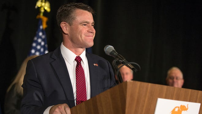 Rep. Todd Young, the Republican candidate for U.S. Senate, speaks to the crowd at the Indiana GOP watch party at the J.W. Marriott in Indianapolis, after winning the race for Senate, Tuesday, November 8, 2016.