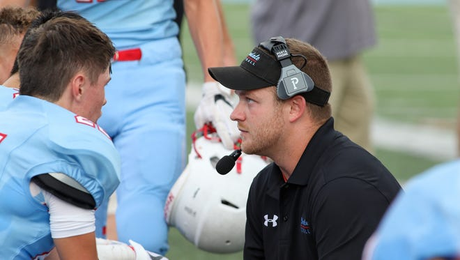 Former Mizzou quarterback Maty Mauk was on the sidelines coaching for the Glendale Falcons during their win over Joplin on Friday, Aug. 18.
