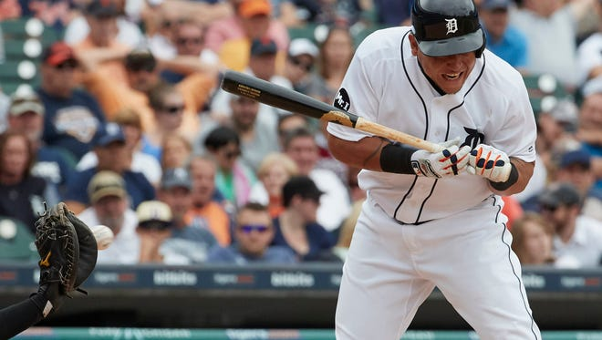 Detroit Tiger Miguel Cabrera avoids an inside pitch in the sixth inning against the New York Yankees.