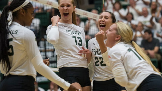 From left, Breana Runnels (15) KIirstie Hillyer (13) Katie Oleksak (22) and Maddi Foutz (16) celebrate after a tough point during a game against Duke played Friday, August 25, 2017, at Moby Arena in Fort Collins, Colo.