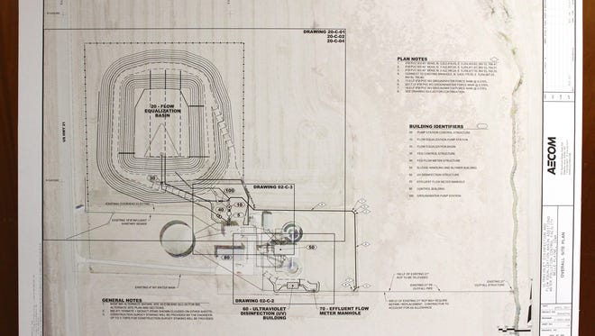Plans for the new basin for the Belle Plaine sewer plant is in the council chambers at city hall.