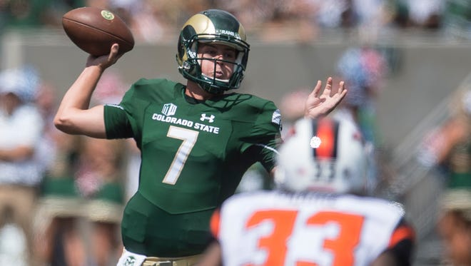Colorado State University quarterback Nick Stevens (7) attempts a pass during a game against Oregon State, Saturday, August 26, 2017, at Sonny Lubick Field at Colorado State Stadium in Fort Collins, Colo.