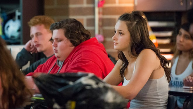 Senior and First Class scholar Julianna Piz sits in on Mr. Griebel's senior film studies class in August at Windsor High School.