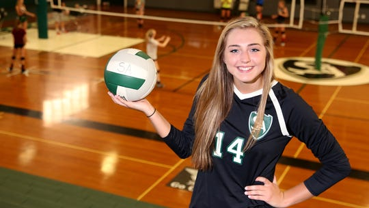 Sydney Brown, a senior middle hitter with the Salem