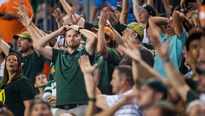 CSU fans are in disbelief after three offensive passing interference calls against CSU receivers, Friday, September 1, 2017, during the Rocky Mountain Showdown at Sports Authority Field at Mile High in Denver, Colo.