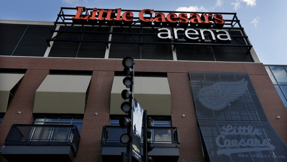 The facade of Little Caesars Arena facing Chevrolet
