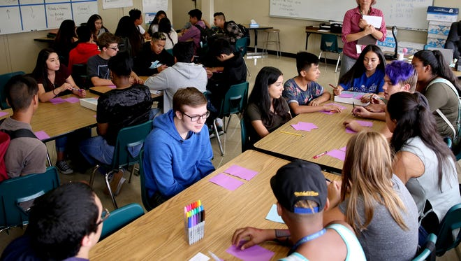 An English classroom at McKay High School in Salem on Wednesday, Sept. 6, 2017. Wednesday was the first day of school for most grades in Salem-Keizer.
