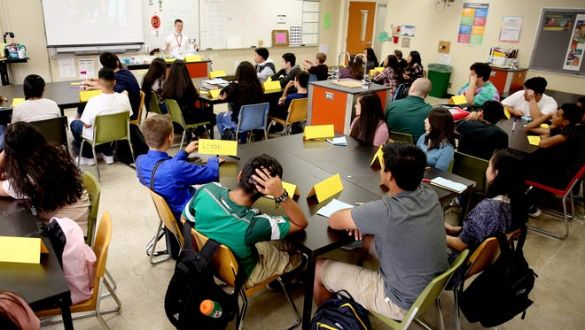 A science classroom at McKay High School in Salem on Sept. 6.