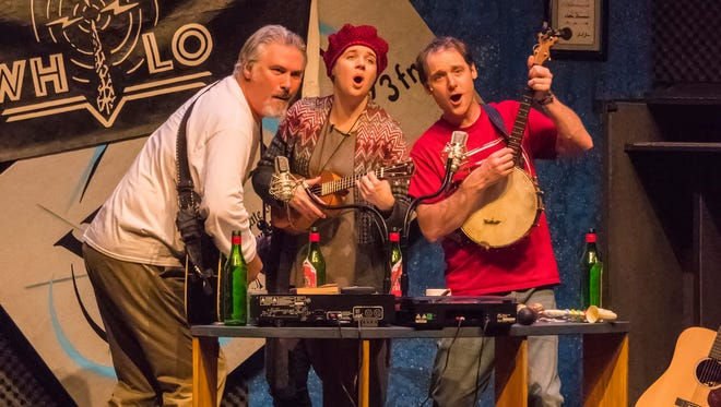 """Doug Forrest (left), Molly Rhode and Chase Stoeger perform in """"Naked Radio."""""""
