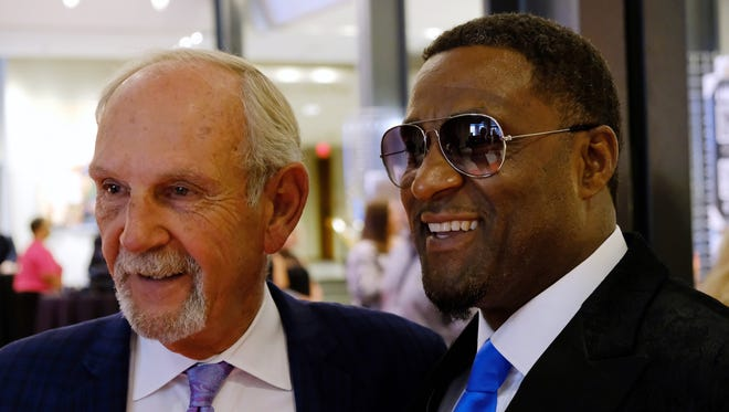 Jim Leyland and Andre Rison pose for a photo before the start of Michigan Sports Hall of Fame induction ceremony on Friday, Sept. 15, 2017, at the Max M. Fisher Music Center.