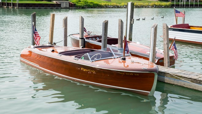 Boats that will be participating in the 2017 Port Huron Antique and Classic Boat Show this weekend are docked at the Port Huron River Street Marina Sept. 15.