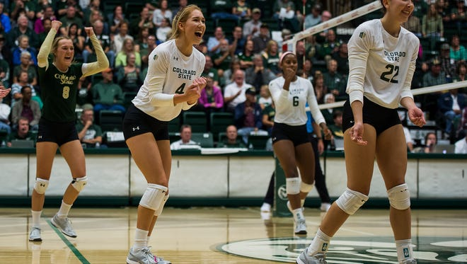 CSU's volleyball team, shown celebrating a point during a Sept. 16, 2017, match against the University of Colorado at Moby Arena, will have three of its matches broadcast by Stadium this fall. Stadium is a multi-platform sports network that can be accessed through televisions and other devices.