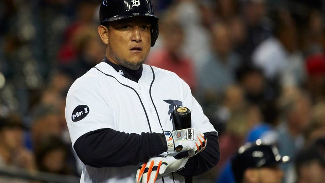 Tigers first baseman Miguel Cabrera (24) waits to bat in the first inning on Monday, Sept. 18, 2017, at Comerica Park.