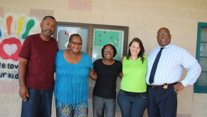 Joe Idlette III,  Sheila Smith, Barbara Pearce, Brittany Bearden and Leroy Smith came to support the community event.