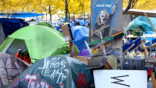 Donald Lokuta's 'Rise Up (Occupy Wall Street)' commemorates a movement. The 2011 chromogenic print is   on view at the Zimmerli Museum, Rutgers University, New Brunswick.