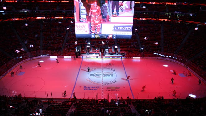 The Detroit Red Wings take the ice for the first time in the new Little Caesars Arena against the Boston Bruins.