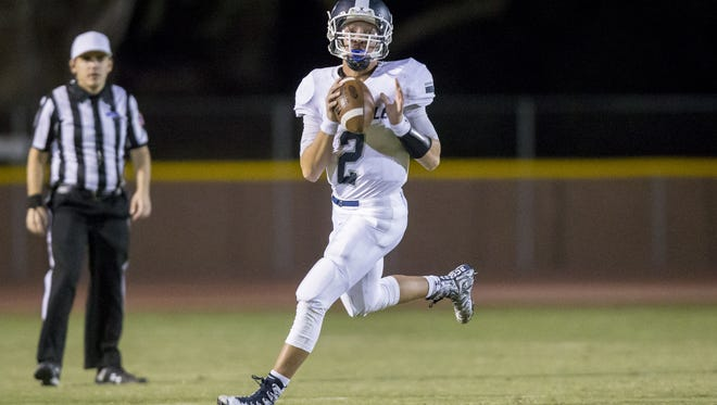 Quarterback Spencer Rattler of Pinnacle during the second half of the High School football game between Pinnacle and Mountain Pointe at Mountain Pointe High School on Friday, September 22, 2017 in Phoenix, Arizona.
